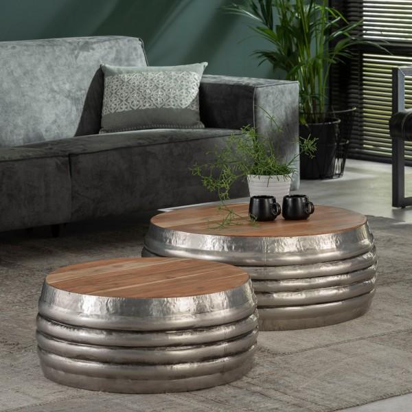 2er Set Couchtisch rund Metall mit Holzplatte