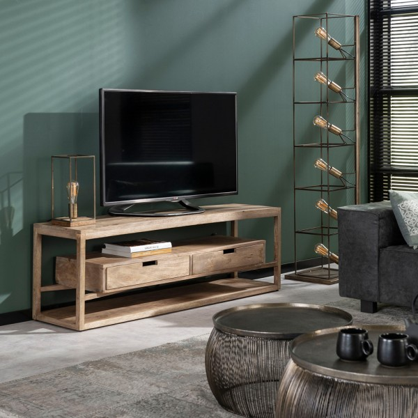 TV Möbel Sonora 140 cm Schubladen Board Lowboard Kommode Metall Mango Massivholz