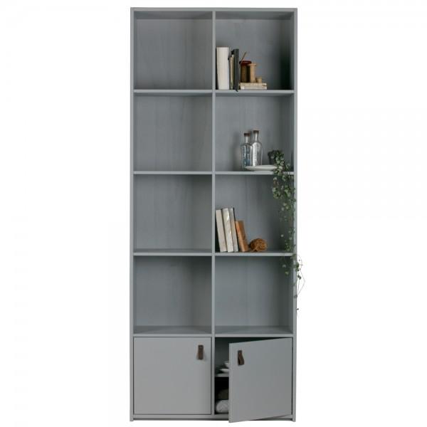Bücherregal Bookcase Breite Kiefer betongrau Holz Schrank Regal Büro Wohnzimmer
