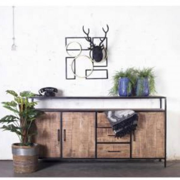Industrie Design Kommode Henk 180 Cm 3 Turen Sideboard Mangoholz