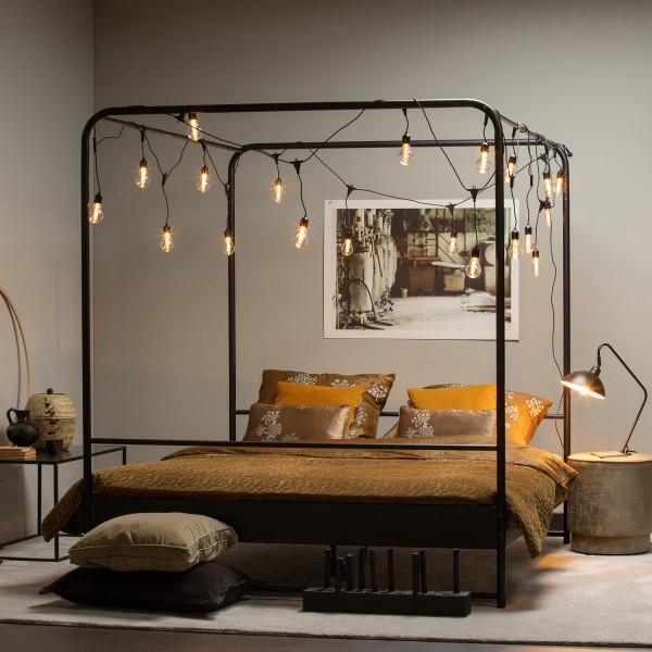 woood Himmelbett Bett Bunk 200 x 160 cm Metall schwarz