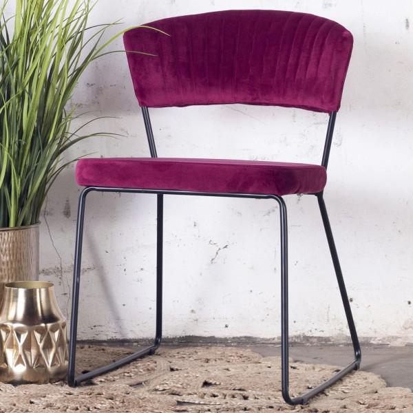 2´er Set Esszimmerstuhl Grace Velvet Samt rot Stuhl