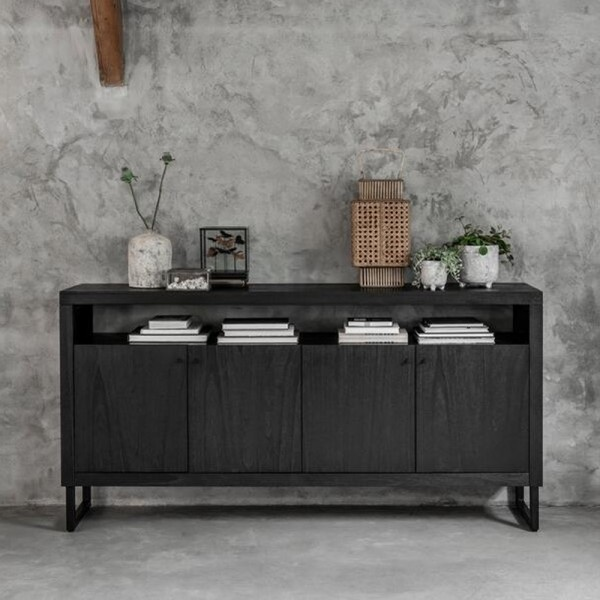 DTP Home Kommode Sideboard Night 180 cm Mindi Holz Metall schwarz