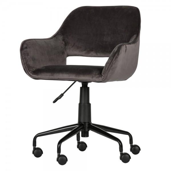 Bürostuhl Stuhl Jelle Samt Velvet grau Drehstuhl Bürodrehstuhl Schreibtischstuhl