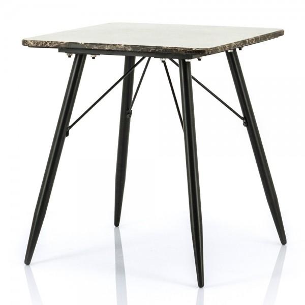 Beistelltisch Richy 50 x 50 cm Metall schwarz Marmor