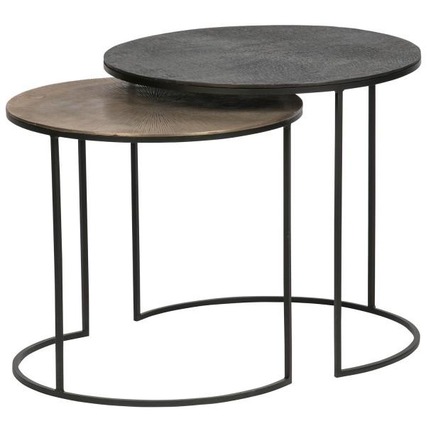 woood 2er Tischset Beistelltisch Fara antik Messing