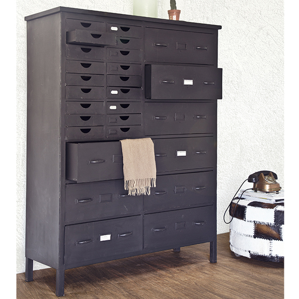 industrie design schubladenschrank highboard konsole schrank metall schwarz industrie design. Black Bedroom Furniture Sets. Home Design Ideas