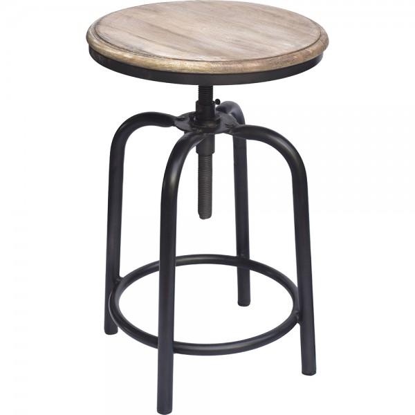 Industrie Design Drehhocker Hocker Sitzhocker Küchenhocker Metall schwarz Massivholz