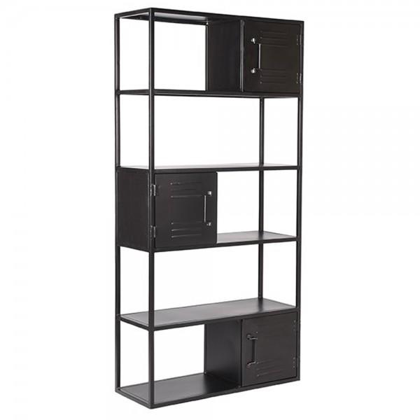 Industrie Regal Ferro H 182 cm Türfächer Metall schwarz Bücherregal Wandregal