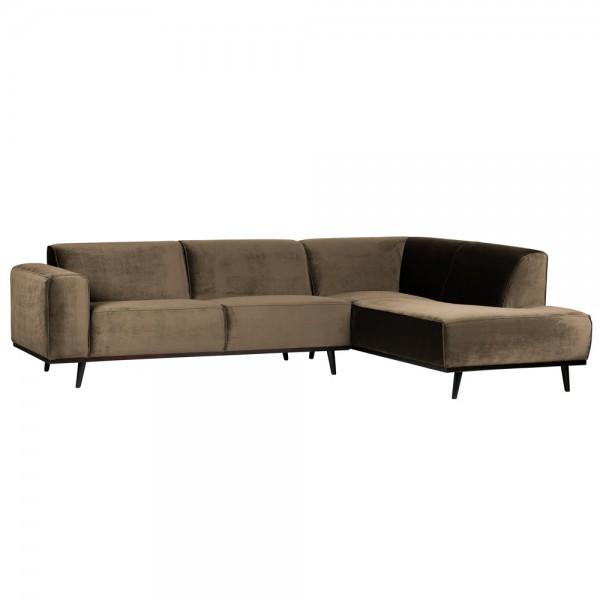 Eckgarnitur Statement Samt taupe Couch Sofa Ecksofa Eckcouch Longchair Rechts