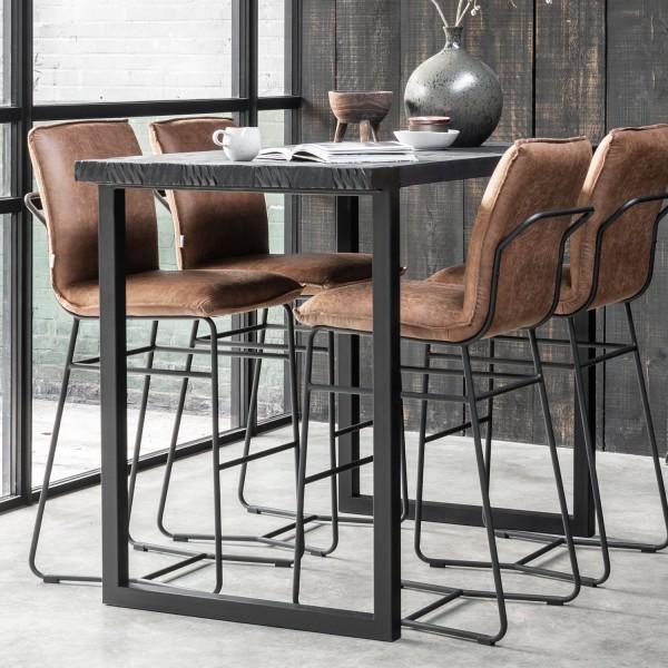 DTP Home Bartisch Bar Beam H 110 cm Teak Holz Metall schwarz