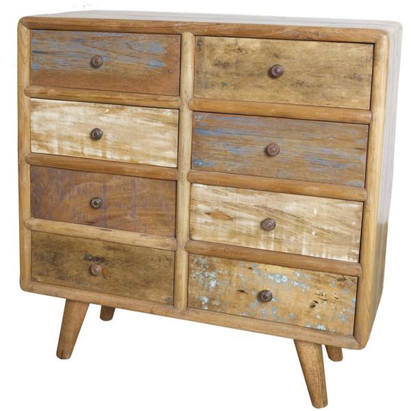 Vintage Landhaus Kommode 8 Schubladen Holzschrank Aufbewahrungsschrank Sideboard