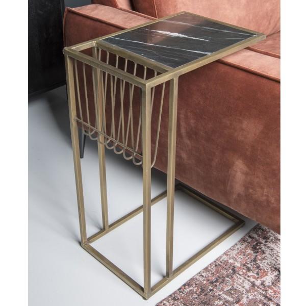 Beistelltisch Djura H 65 cm Metall Messing Marmor Couchtisch Tisch Laptoptisch