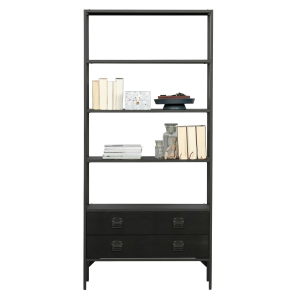 Bücherregal Derby 95 cm breit Metall Kiefer schwarz Regal
