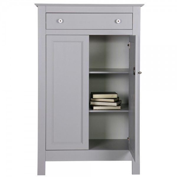 woood Schrank Kommode Eva H 150 cm Highboard Kiefer betongrau grau