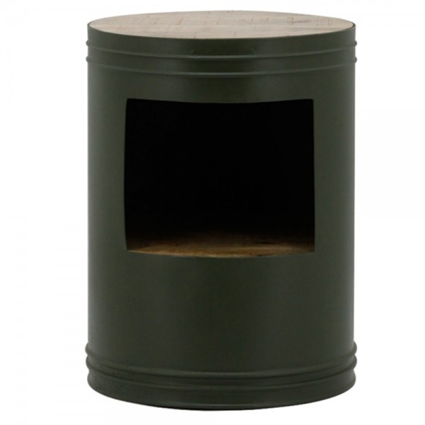 Beistelltisch BARREL Ø 40 cm grün Anstelltisch Couchtisch Tisch Metall Holz