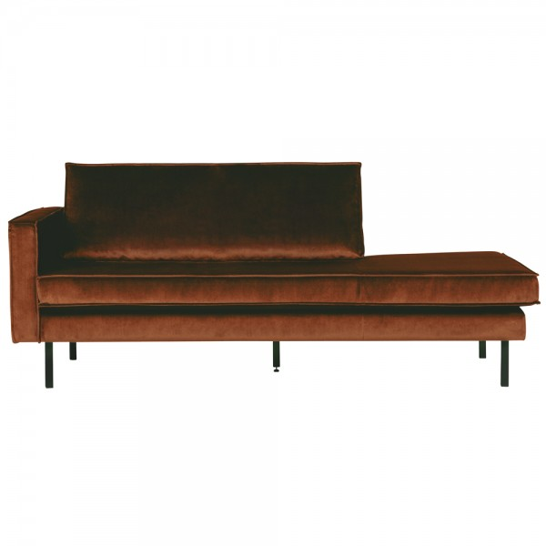 Sofa Chaiselongue RODEO Recamiere Samt rostfarben links Tagesbett