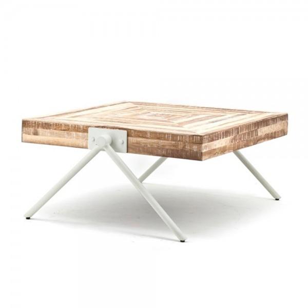 Couchtisch Kaffeetisch Tisch Sofatisch SQUARE 70 x 70 cm weiß Metallbeine Holz