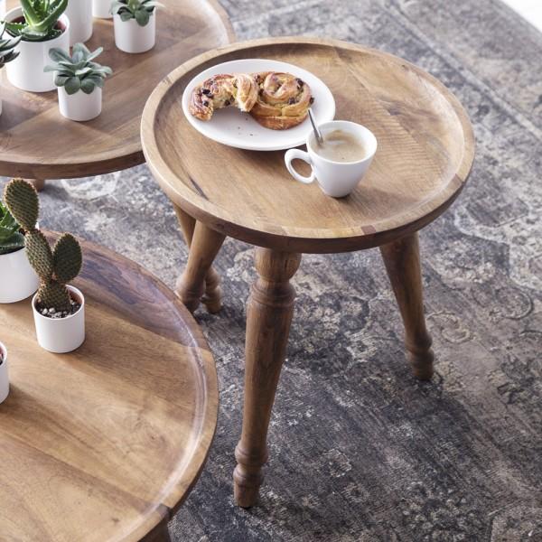 Beistelltisch ABU Ø 40 cm Tisch Kaffeetisch Anstelltisch Mango Massivholz Shabby
