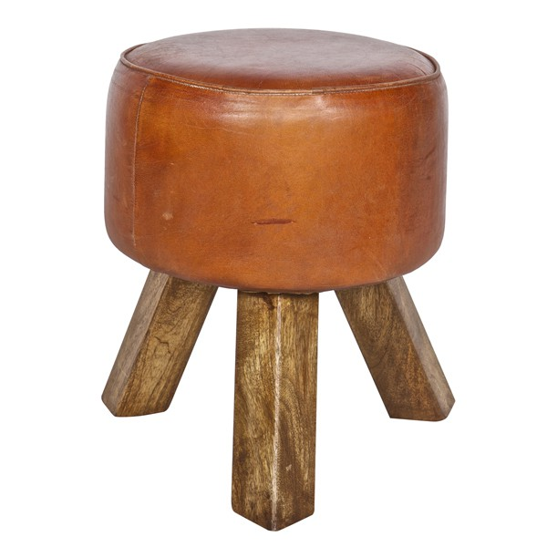 Hocker BOK Holz Leder cognac