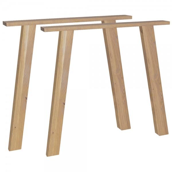 2er Set Tischbeine Outline Eiche Massivholz Tischbein Holzlbeine Tischfüße
