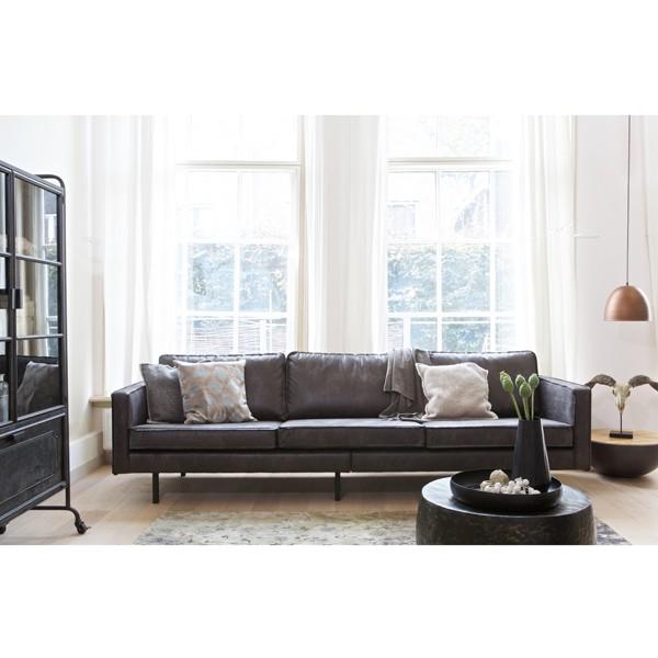 3 Sitzer Sofa RODEO Echtleder Leder Lounge Couch Garnitur Vintage schwarz