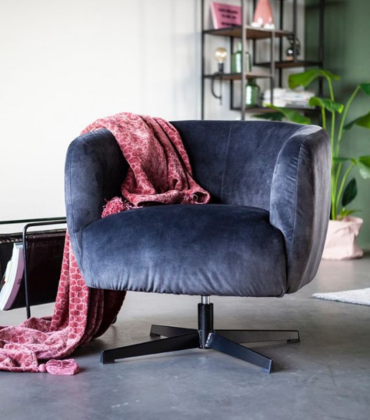Lounge Sessel drehbar Jaimey Samt anthrazit Relaxsessel