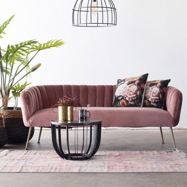 3 Sitzer Sofabank Sofa Amy 180 cm Samt rosa Bank Sofabank