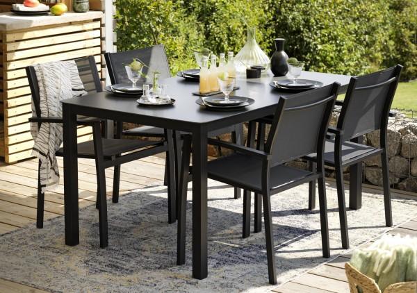 Gartenmöbel 5 tlg. Esstischgruppe RANA Alu schwarz 4 Sessel Tisch 150 x 90 cm