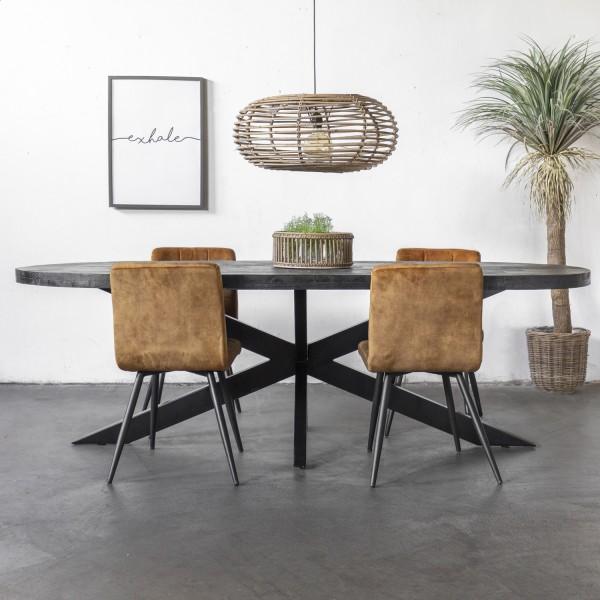 Giga Esstisch Barn oval 200 x 100 cm Mango Holz Metall schwarz