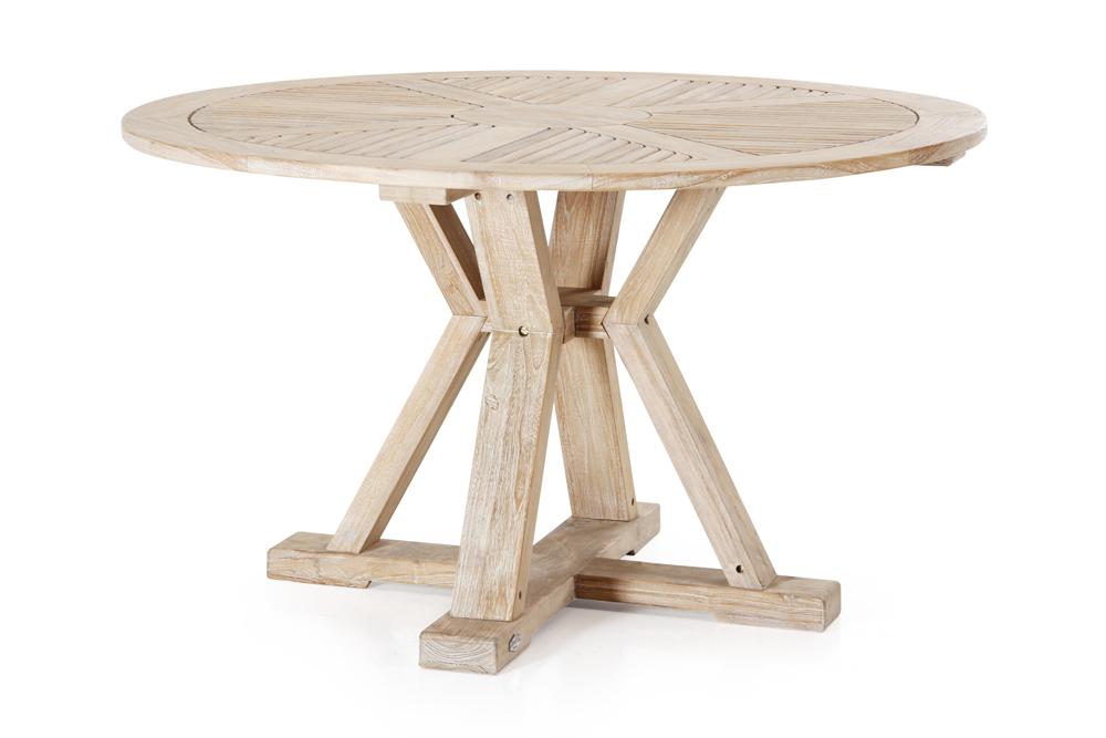 Gartentisch 130 Cm Rund Teakholz Weiss Gekalkt Teaktisch Holztisch
