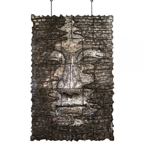 Exklusive Wandskulptur Deko Relief Maske Wandbild Aluminium silber 100 x 150 cm