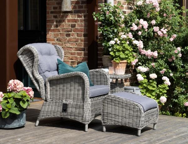Garten Relax Sessel Rosita verstellbar grau incl Kissen