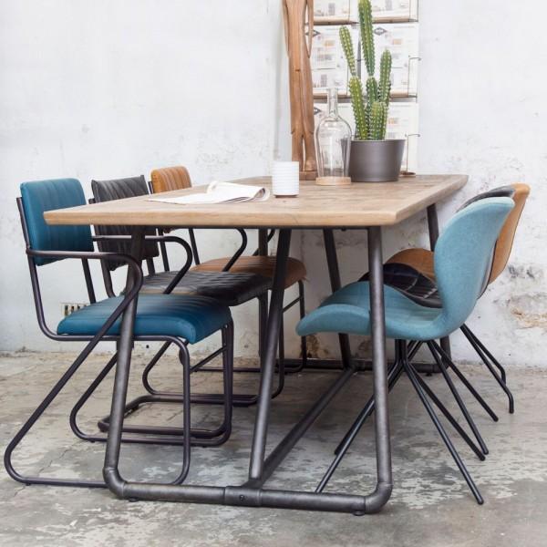Industrie Esstisch 240 x 100 cm Esszimmertisch Dinnertisch Massivholz Metall
