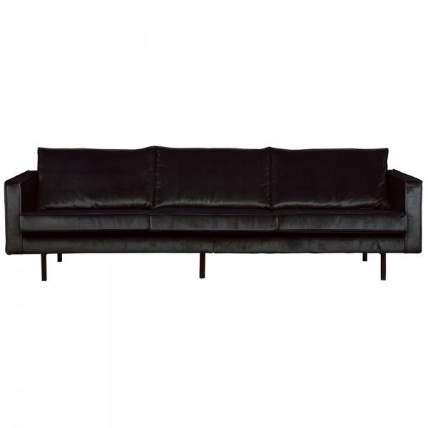 3 Sitzer Sofa Rodeo Samt schwarz Couch Garnitur Samtsofa Couchgarnitur