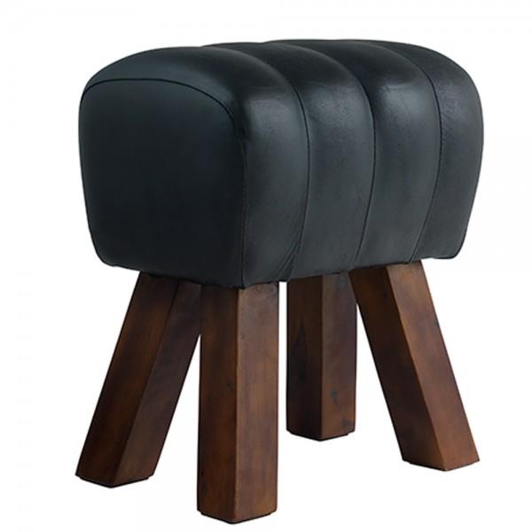 Hocker Bock Lima H 47 cm Leder schwarz Sitzhocker Fußhocker Holz Holzhocker