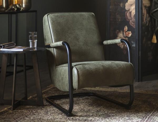 Armlehnensessel Lounge Sessel PIEN Vintage Leder Look grün