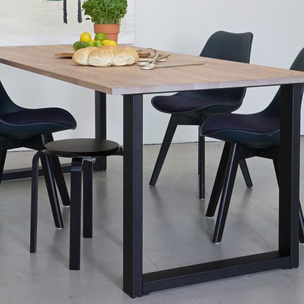 2er Set Tischbeine KD U-Form Metall schwarz Tischbein Metallbein Tischfüße