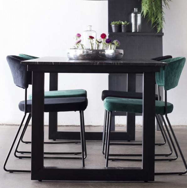 Esstisch Sandro 175 x 90 cm Tischplatte Marmor schwarz