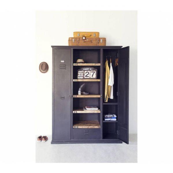 Industrie Schrank Garderobe Kleiderschrank LOCKER Metall schwarz