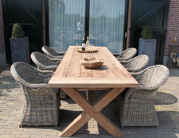 Teak Tisch 300 x 100 cm CROSS Gartentisch