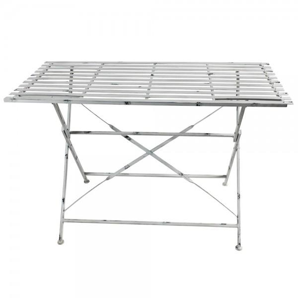 Landhaus Tisch 120 X 40 Cm Metalltisch Vintage Weiss Gartentisch