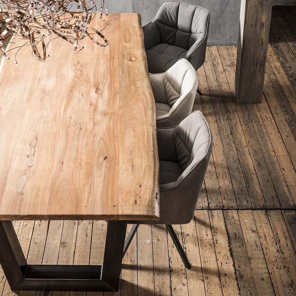 Esstisch Baumstamm 240 Cm Massiv Akazie Holztisch Baumkante New