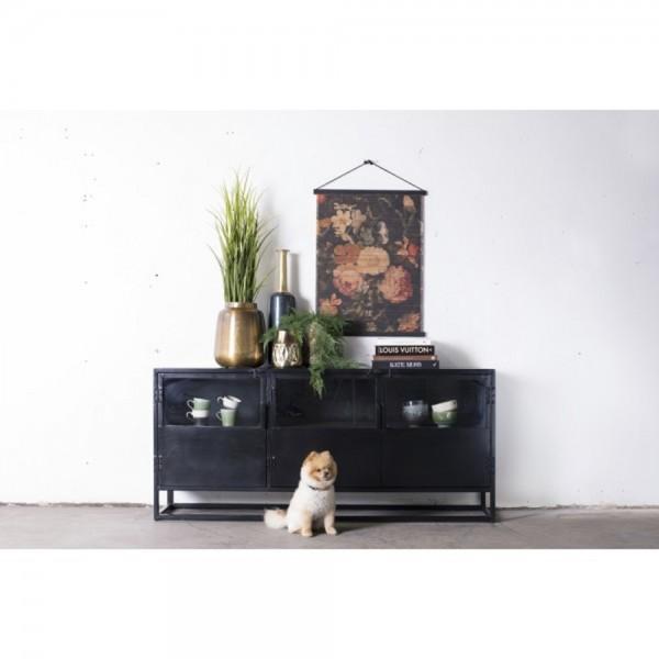 Kommode Urban 180 cm Metall vintage schwarz 3 Türen Schrank Sideboard Lowboard