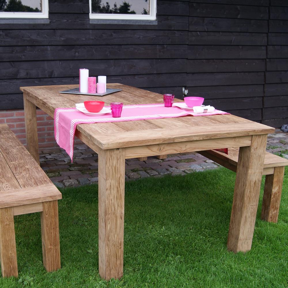 Esstisch evoy 200 x 100 cm gartentisch esszimmertisch dinnertisch garten teakholz massiv new - Gartentisch massiv ...