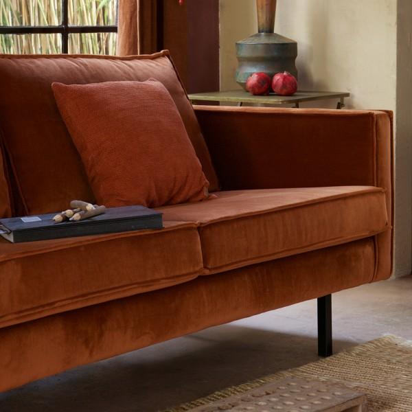 2,5 Sitzer Sofa Rodeo Samt rostfarben Couch Garnitur Samtsofa Couchgarnitur