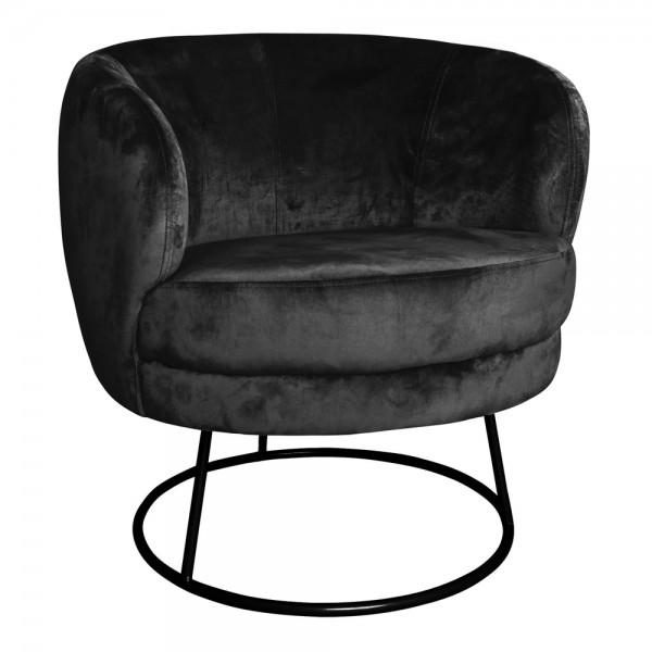 PTMD Sessel XELENA Samt schwarz Gestell schwarz