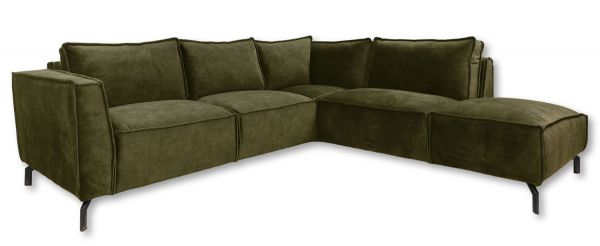 Eckgarnitur Morgan 2,5 Sitzer Velour moosgrün Samt Couch Sofa Ecksofa Longchair rechts