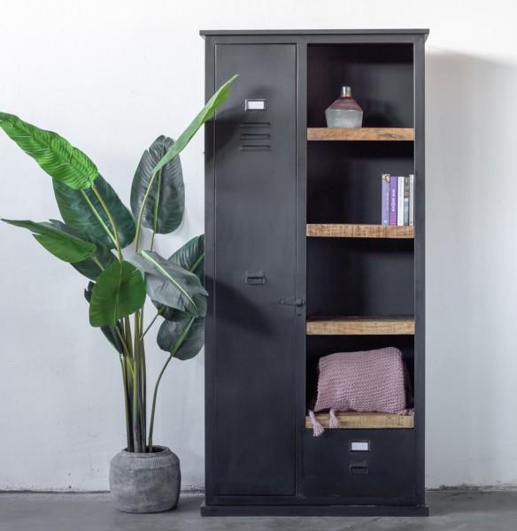 Industrie Metall Schrank Bücherschrank schwarz