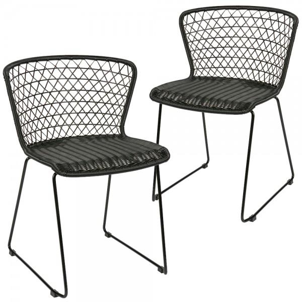 2er Set Esszimmerstuhl QUADRO schwarz Stuhl Kunstrattan Esszimmer Küchenstuhl …